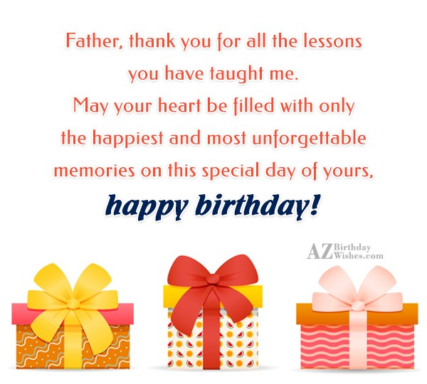 Father thank you for all the lessons you have… - AZBirthdayWishes.com