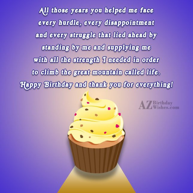 All those years you helped me face every hurdle… - AZBirthdayWishes.com