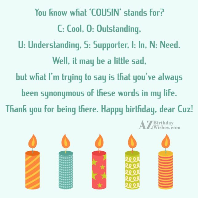 You know what 'COUSIN' stands for C Cool O… - AZBirthdayWishes.com