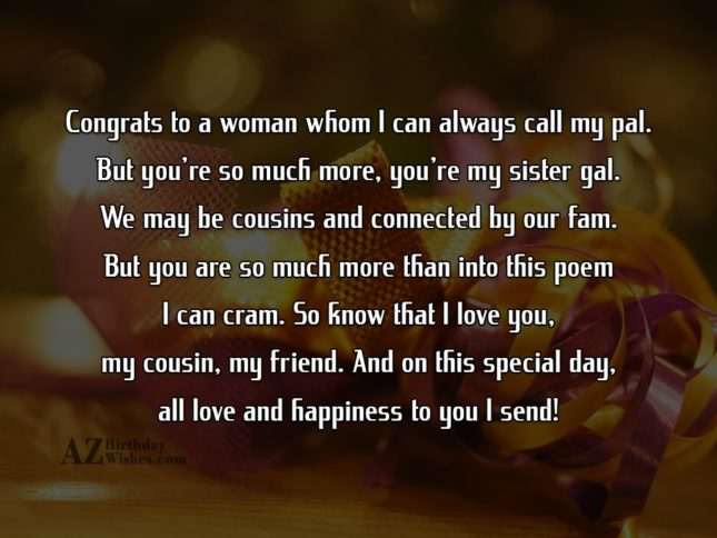 Congrats to a woman whom I can always call… - AZBirthdayWishes.com