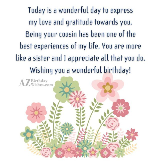 Today is a wonderful day to express my love… - AZBirthdayWishes.com