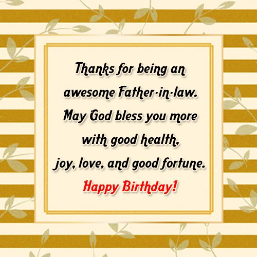 Thanks for being an awesome Father-in-law May God bless… - AZBirthdayWishes.com