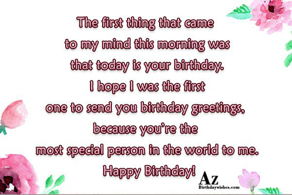 The first thing that came to my mind this morning… - AZBirthdayWishes.com