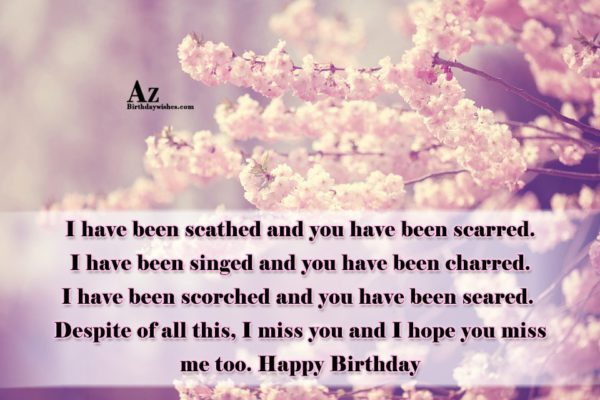 I have been scathed and you have been scarred… - AZBirthdayWishes.com