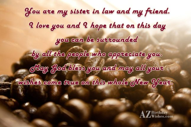 You are my sister in law and… - AZBirthdayWishes.com