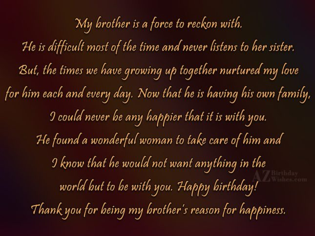 My brother is a force to reckon… - AZBirthdayWishes.com