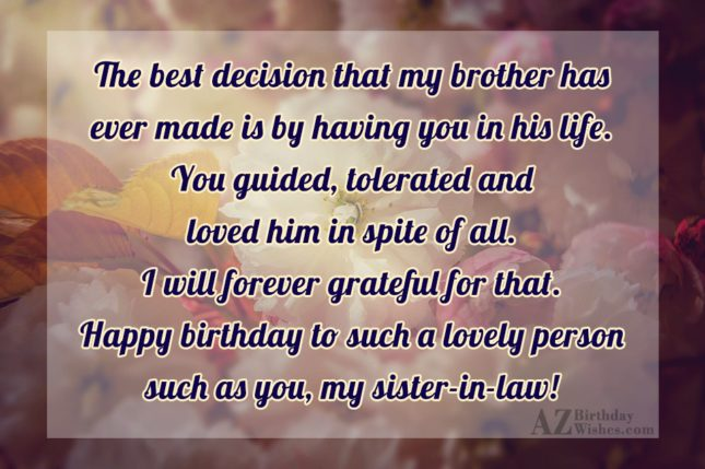 The best decision that my brother has… - AZBirthdayWishes.com