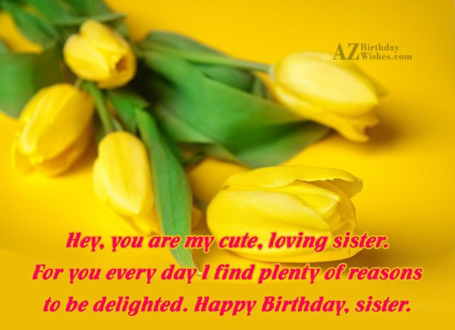 Hey, you are my cute, loving sister…. - AZBirthdayWishes.com