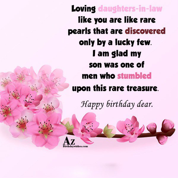 Loving daughters-in-law like you are like rare pearls that… - AZBirthdayWishes.com