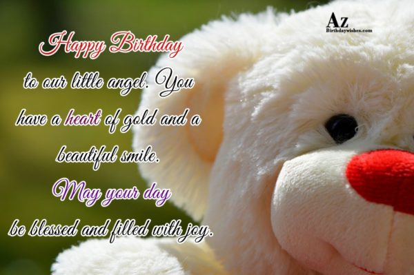 Happy Birthday to our little angel You have a… - AZBirthdayWishes.com