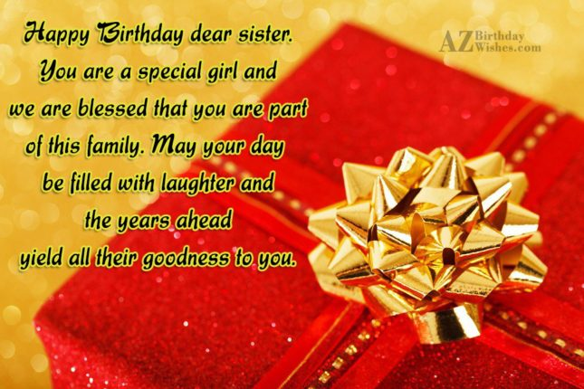 Happy Birthday dear sister. You are a… - AZBirthdayWishes.com