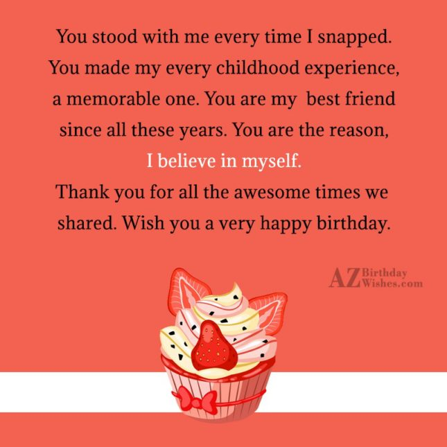 You stood with me every time I… - AZBirthdayWishes.com