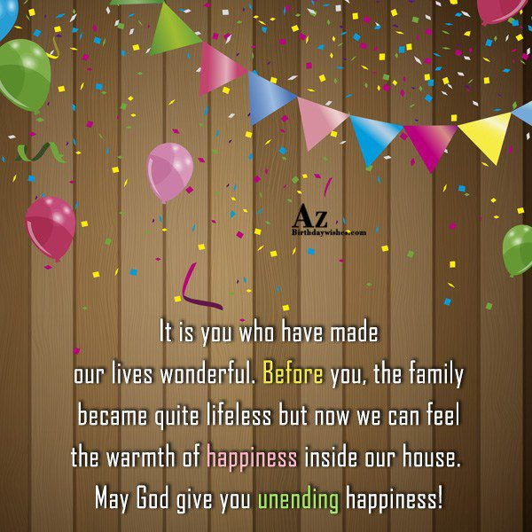 It is you who have made our lives wonderful… - AZBirthdayWishes.com