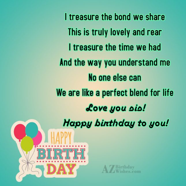 I treasure the bond we share This… - AZBirthdayWishes.com