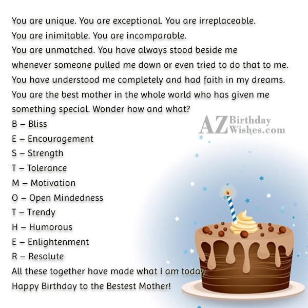 You are unique. You are exceptional. You… - AZBirthdayWishes.com