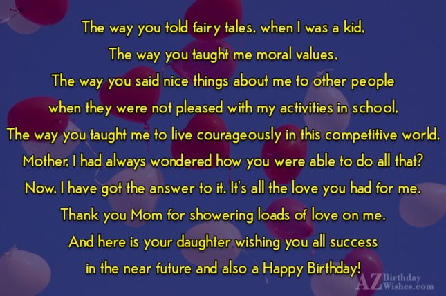 The way you told fairy tales, when… - AZBirthdayWishes.com