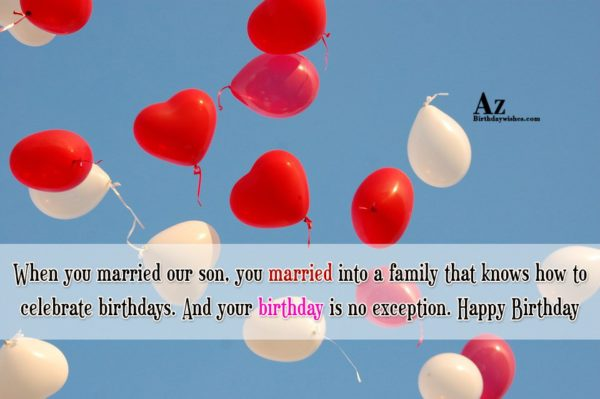 When you married our son you married into a… - AZBirthdayWishes.com