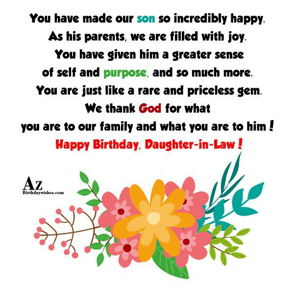 You have made our son so incredibly happy As… - AZBirthdayWishes.com