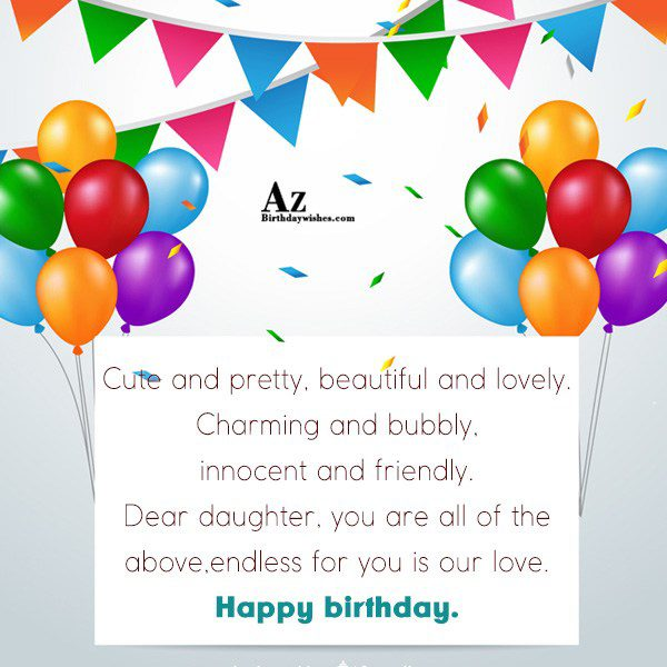 Cute and pretty beautiful and lovely Charming and bubbly… - AZBirthdayWishes.com