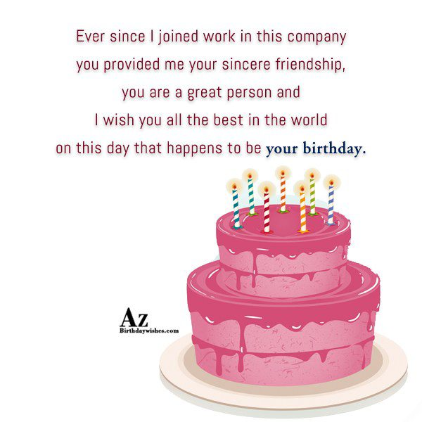 Ever since I joined work in this company you… - AZBirthdayWishes.com