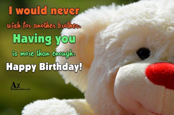 I would never wish for another brother Having you… - AZBirthdayWishes.com