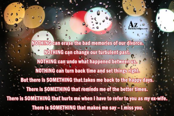 NOTHING can erase the bad memories of our divorce… - AZBirthdayWishes.com