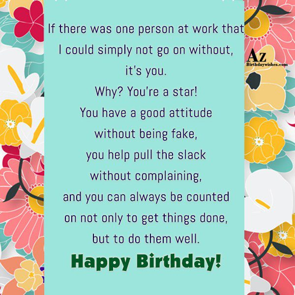 If there was one person at work that I… - AZBirthdayWishes.com
