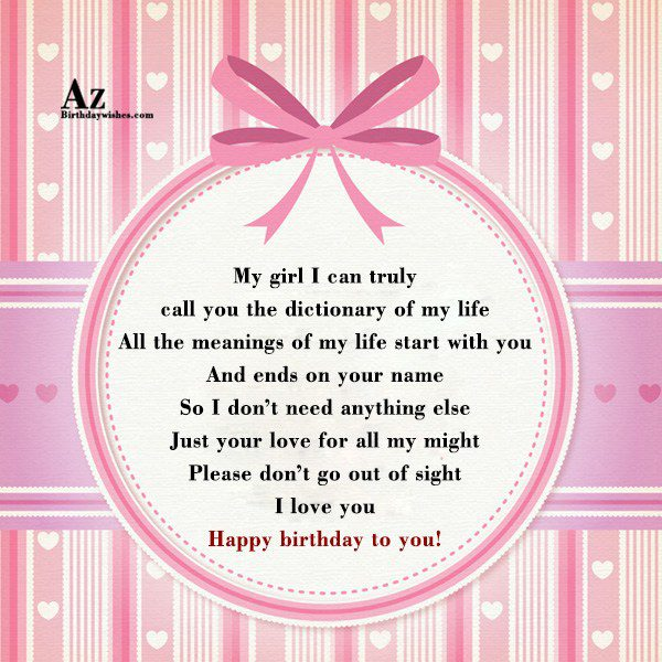 My girl I can truly call you the dictionary… - AZBirthdayWishes.com