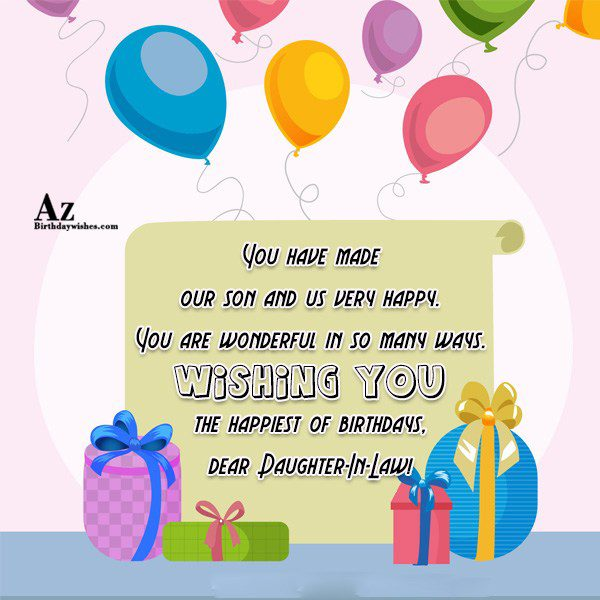 You have made our son and us very happy… - AZBirthdayWishes.com