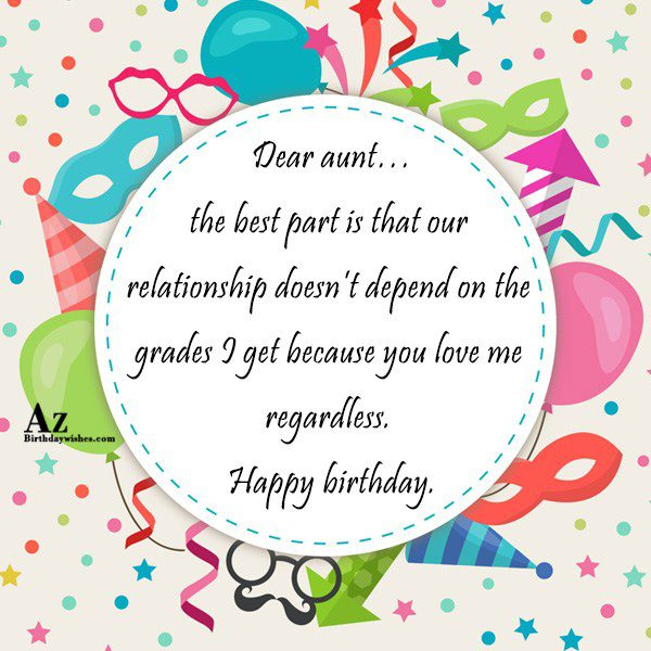 Dear aunt… the best part is that our relationship… - AZBirthdayWishes.com