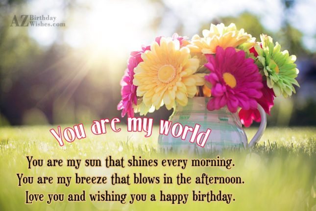 You are my world. You are my… - AZBirthdayWishes.com
