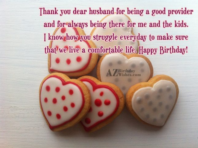 Thank you dear husband for being a… - AZBirthdayWishes.com