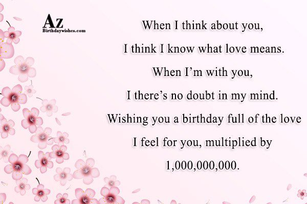 When I think about you, I think I know… - AZBirthdayWishes.com