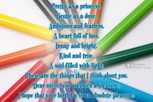 Pretty as a princess,Gentle as a dove,Ambitious… - AZBirthdayWishes.com