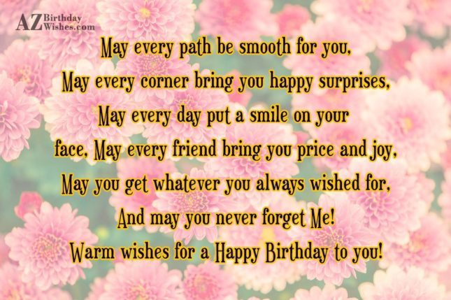 May every path be smooth for you,… - AZBirthdayWishes.com