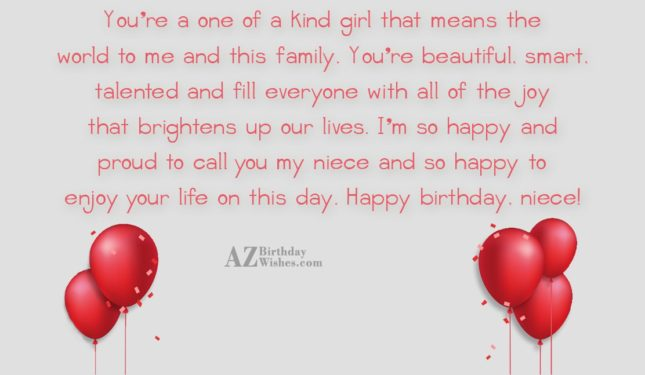 You're a one of a kind girl… - AZBirthdayWishes.com