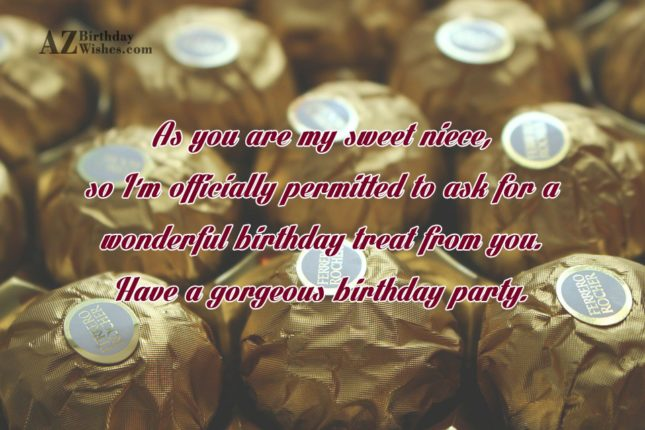 As you are my sweet niece, so… - AZBirthdayWishes.com