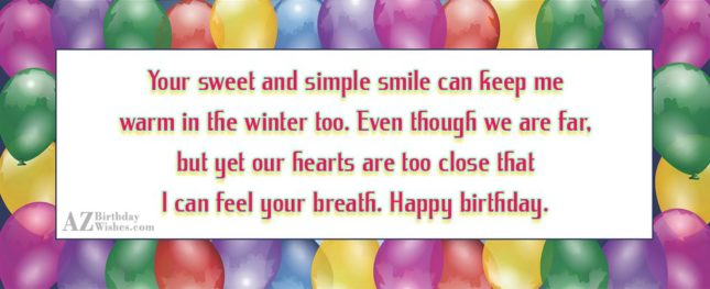 Your sweet and simple smile can keep… - AZBirthdayWishes.com