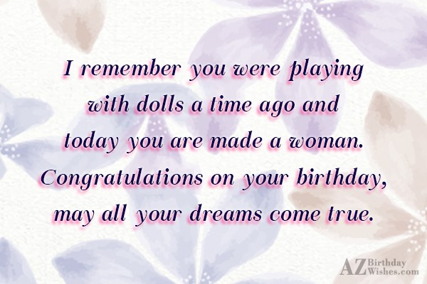 I remember you were playing with dolls… - AZBirthdayWishes.com