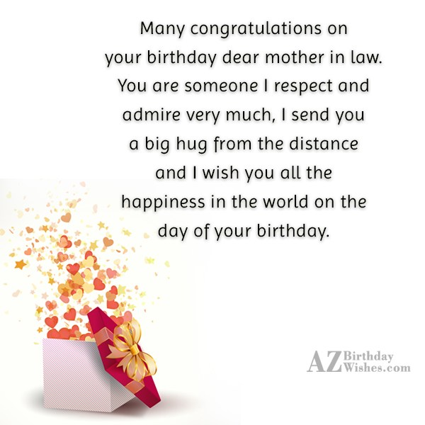 Many congratulations on your birthday dear mother… - AZBirthdayWishes.com
