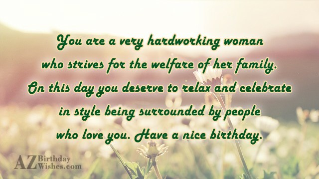 You are a very hardworking woman who… - AZBirthdayWishes.com