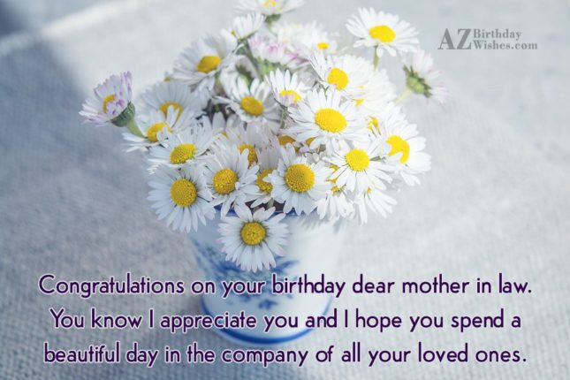 Congratulations on your birthday dear mother in… - AZBirthdayWishes.com