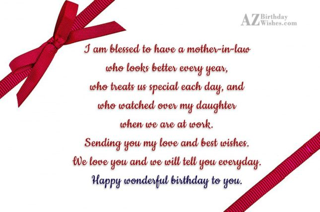 I am blessed to have a mother-in-law… - AZBirthdayWishes.com