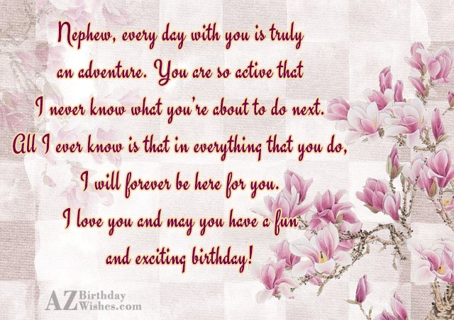 Nephew, every day with you is truly… - AZBirthdayWishes.com