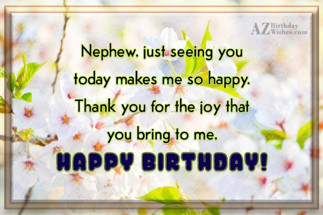 Nephew, just seeing you today makes me… - AZBirthdayWishes.com