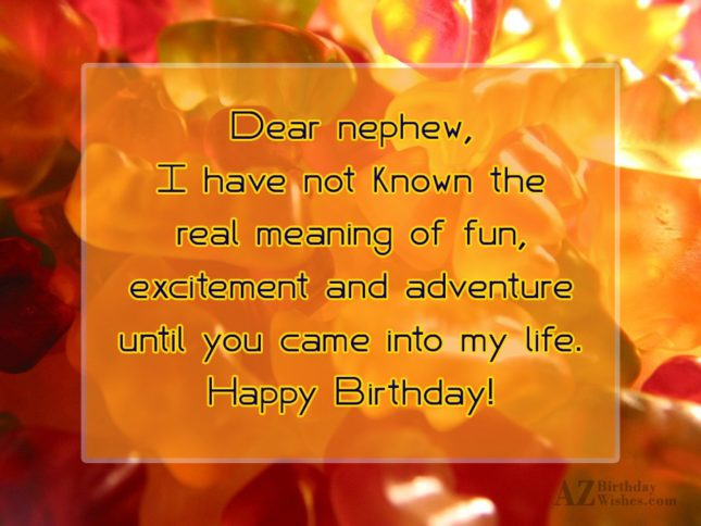 Dear nephew, I have not known the… - AZBirthdayWishes.com
