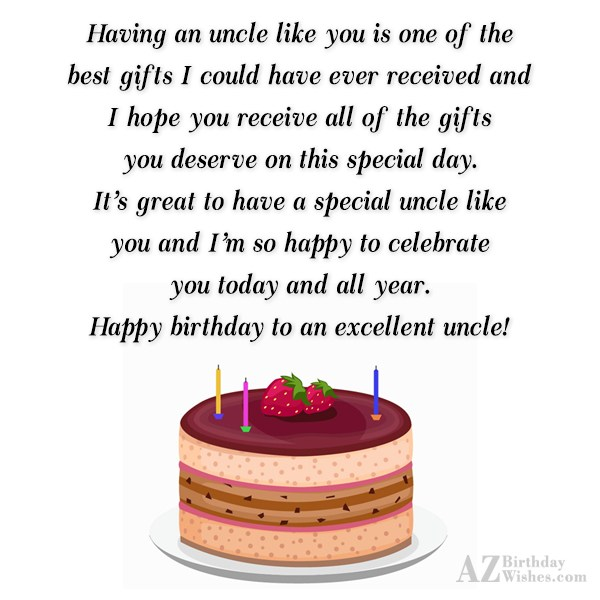 Having an uncle like you is one… - AZBirthdayWishes.com