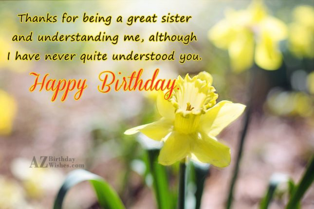 Thanks for being a great sister and… - AZBirthdayWishes.com