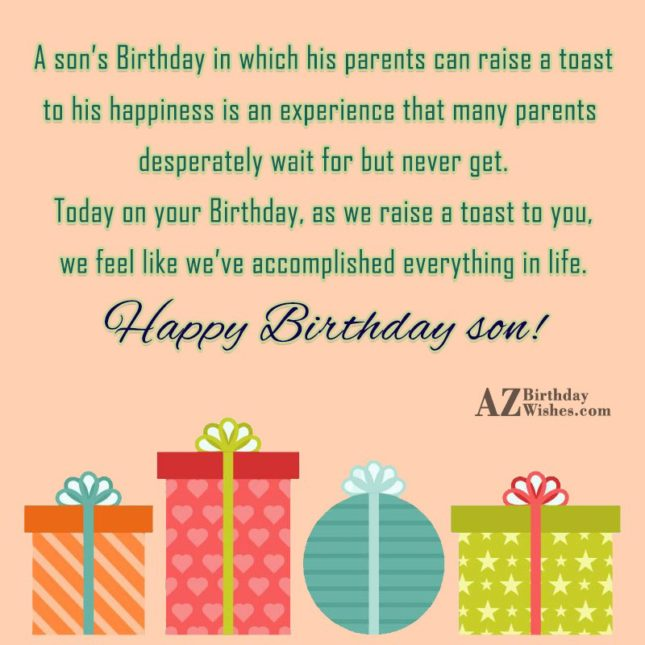 A son's Birthday in which his parents… - AZBirthdayWishes.com