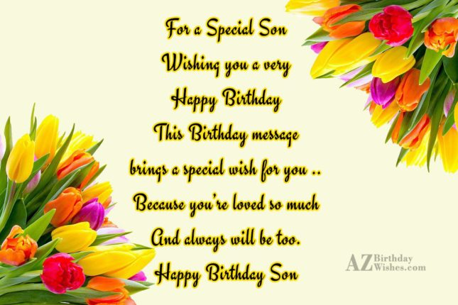 For a Special SonWishing you a veryHappy… - AZBirthdayWishes.com